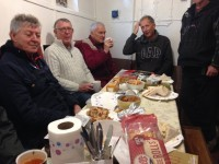 Volunteers get together in the crews accommodation