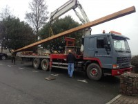 New Mast arriving at Bideford Quay and safely stowed on deck